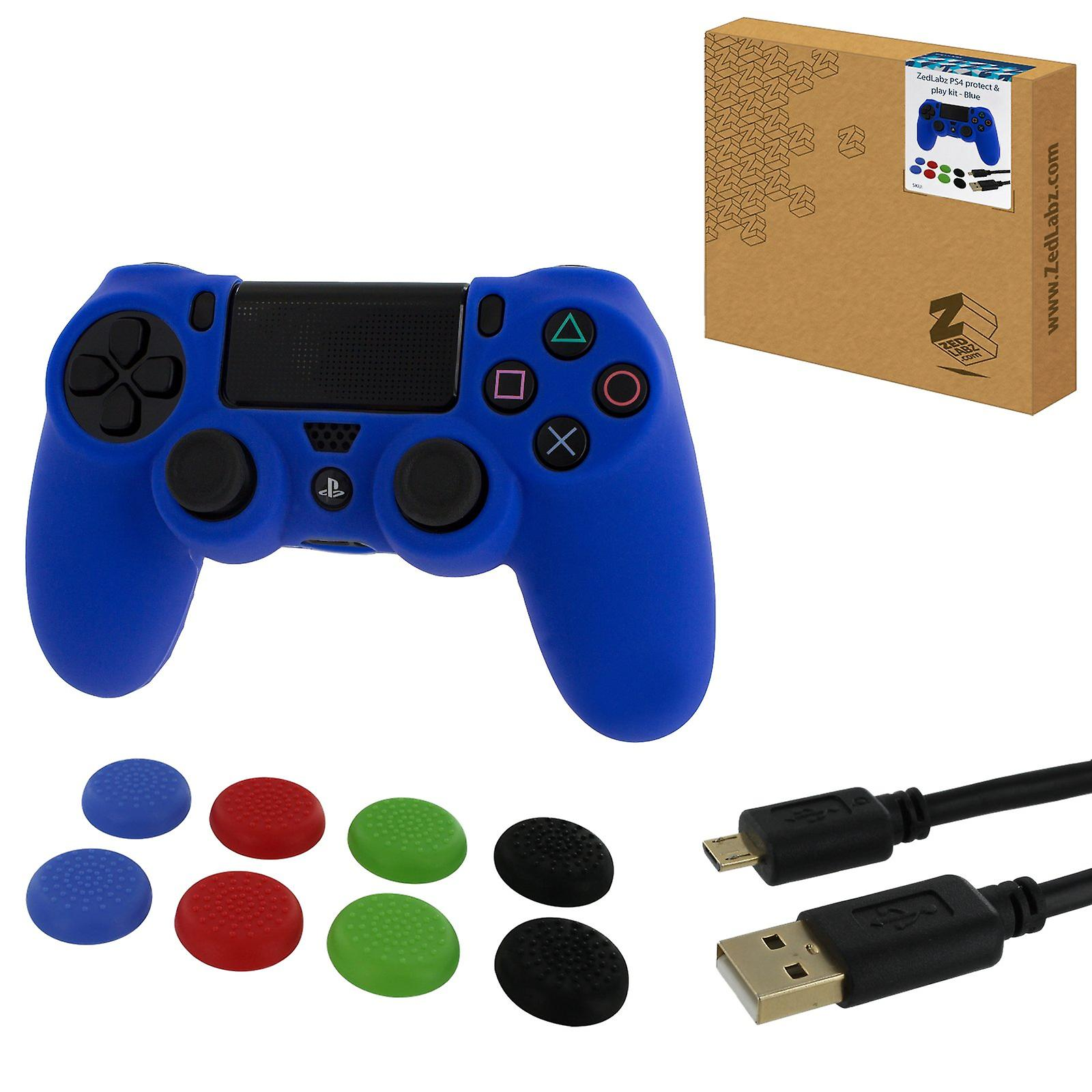 Protect & play kit for ps4 inc silicone cover, thumb grips & 3m charging cable - blue
