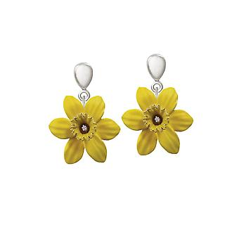 Eternal Collection Daffodil With Trumpet Enamel Petite Silver Tone Drop Clip On Earrings