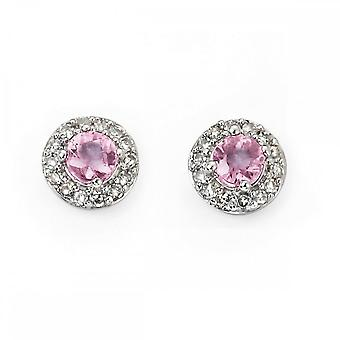 Elements Gold Elements White Gold Pink Sapphire Diamond Cluster Stud Earrings GE892PZ475