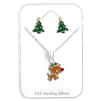 Sterling Silver Colourful Christmas Earrings and Necklace Set