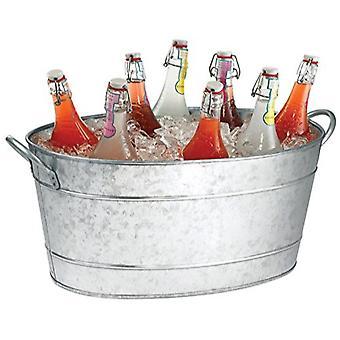 Galvaniseret drik badekar med håndtag, grå