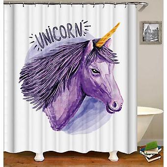 Paarse tekening Unicorn douche gordijn