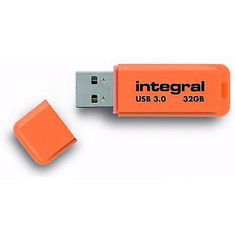 Integreret Neon 32GB USB 3.0 Flash Drive - Orange