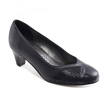 Padders Joanna Ladies Couro Extra Wide (2e) Sapatos Marinha