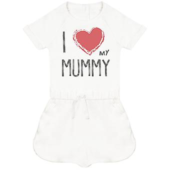 I Love My Mummy Red Heart Baby Playsuit