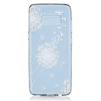 Skrov för Samsung Galaxy S8 Transparent flexibelt mönster vita blommor