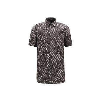 Hugo Boss Casual Hugo Boss Mens Slim Fit Magneton Short Sleeved Black Shirt