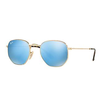 Ray-Ban sechseckige RB3548N 001/9O glänzend Gold/hellblau Spiegel Sonnenbrille