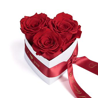 I Love You Roses Heart Box 3 Eternal Roses in Red Durable 3 Years