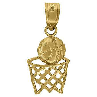 10k Gold Unisex Child Basketball Height 18.6mm X Width 8.4mm Sports Charm Pendant Necklace