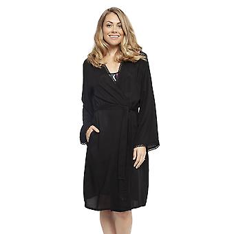 Cyberjammies 4422 Women's Layla Black Modal Short Robe