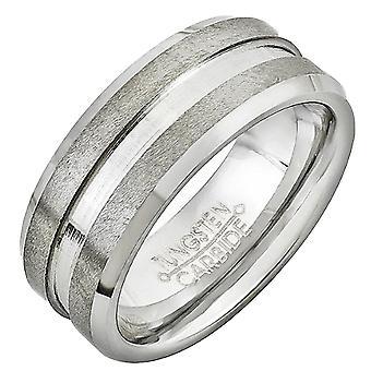 Dazzlingrock Collection Volfrám Karbid Unisex Ring jegygyűrű 7MM (0,28 hüvelyk) Dupla Grooved Brush Finish Comfort Fit