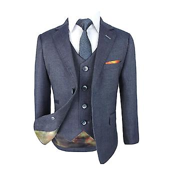 Designer Men's & Boys Steele Blue Slim Fit Denim Look Matching Suit