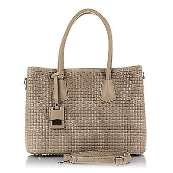 FIRENZE ARTEGIANI. Women's bag in real TOTE leather. A genuino_piel leather tote bag engraved with geometric. MADE IN ITALY. REAL ITALIAN SKIN. 35 x 24 x 15 cm. Color: TAUPE
