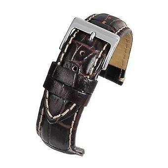 Crocodile grain calf leather watch strap brown padded padded size 10mm to 26mm