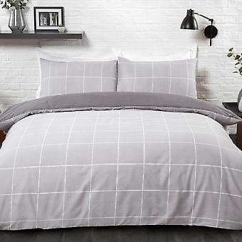 Grid Check Grey Bedding Set - Duvet Cover and Pillowcases