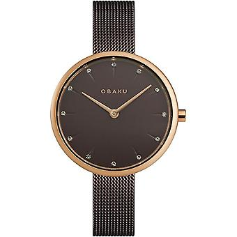 Obaku Notat Walnut Women's Brown Mesh Strap Wristwatch V233LXVNMN