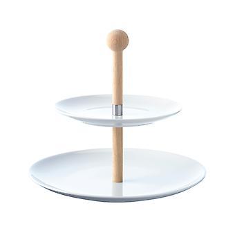 LSA Ruokailla kakkulautanen valkoinen/tammi - 25 cm