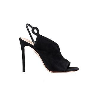 Aquazzura Vsehigs0sue000 Kvinnor's svarta mocka sandaler