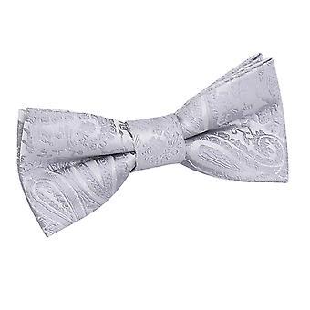 Silver Paisley Pre-Tied Bow Tie for Boys