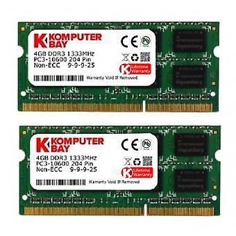 コンプターベイ 8GB (2x 4GB) DDR3 SODIMM (204 ピン) 1333Mhz PC3-10600 (9-9-9-25) Apple iMac 用ポータブル メモリ ラップトップ