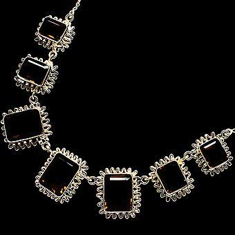"""Smoky Quartz Necklace 17 To 18 1/2""""  - Handmade Boho Vintage Jewelry NEC12062"""