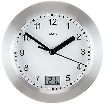 AMS 9223 الجدار على مدار الساعة طاولة الحمام ساعة الحمام ساعة الكوارتز الفضة جولة ميزان الحرارة