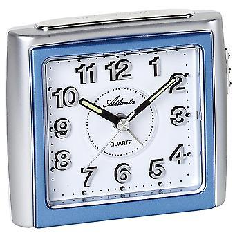 Atlanta 1958/5 Alarm clock quartz analog blue silver quiet without ticking light snooze