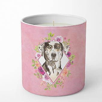 Catahoula Leopard Dog Pink Flowers 10 oz Decorative Soy Candle