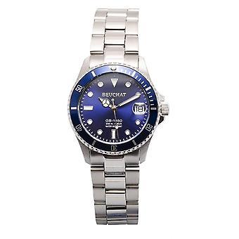 Beuchat Watch BEU1955-2 - Dateur Unidirectional Bezel 20 ATM Steel Silver Blue Dial Women
