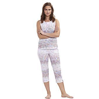 Féraud 3191267-16371 Frauen's Casual Chic weiß mehrfarbige Streifen Baumwolle Pyjama Top