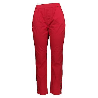 Susan Graver Women's Broek Stretch Sateen Pull On Red A346177