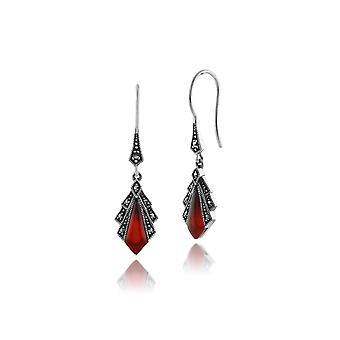 Art Deco Style Diamond Carnelian & Marcasite Drop Earrings in 925 Sterling Silver 214E823203925