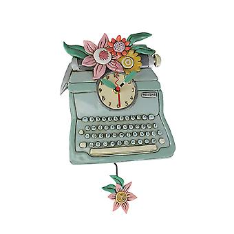 Allen Designs TypeWriter Floral Accented Pendulum Wall Clock