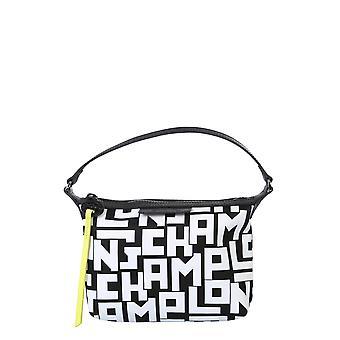 Longchamp 10039412067 Women's White/black Nylon Shoulder Bag