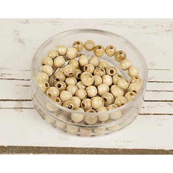 6mm Natural Wooden Threading Beads Adults Crafts - 110pk