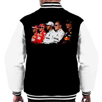 Motorsport Images Vettel Raikkonen Hamilton Botta & Verstappen Line Up Abi Dhabi GP Men's Varsity Jacket
