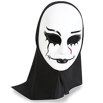 Horror masker met kap demonen spoken Volgelaatsmasker