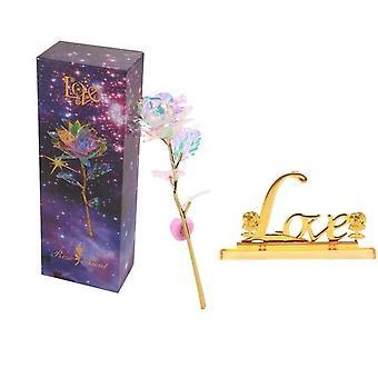 Valentine's Day Creative 24K Foil Plated Rose Gold Rose - Lasts Forever Love Wedding Decor Lover Lighting Rose