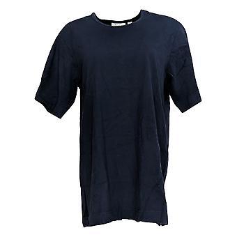 Denim & Co. Women's Top Essentials Jersey Elbow Sleeves Blue A60263