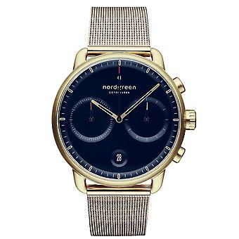 Nordgreen PI42GOMEGONA Blue Dial Gold Tone Mesh Strap Wristwatch