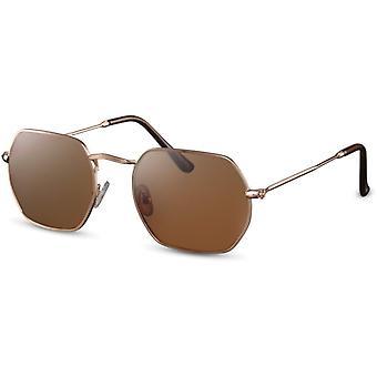 Sunglasses Unisex rectangular gold/brown (CWI2158)