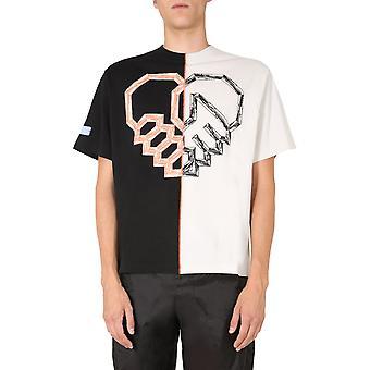 Mcq Door Alexander Mcqueen 624795rpt671184 Men's Wit/zwart Katoen T-shirt