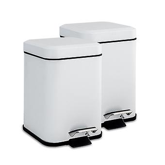 Square Steel Bathroom Pedal Bin with Removable Inner Bucket, 3 Litres - White - Pack of 2