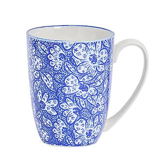 Nicola Spring Paisley Patterned Tea and Coffee Mug - Large Porcelain Latte Cup - Navy Blue - 360ml