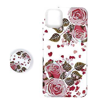 Iskunkestävä mobiilikotelo, jossa pidike iPhone 11 Pro Maxille - Valkoinen/pinkki