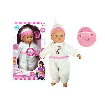 Babypop in witte pyjama met fopspeen