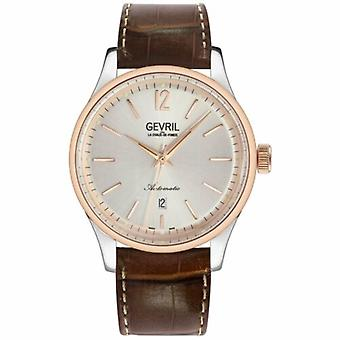 Gevril Men's Five Points 4256A Sellita SW200, Swiss Made Automatic Leather Watch