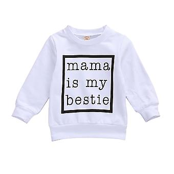 0-24m Newborn Baby Sweatshirt, Baby Autumn Spring Black White Letter Print Long