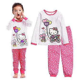Girls Home Sleepwear, Cotton Pajamas, Minnie Cartoon Print, Long Sleeve Set-1